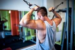 hombre joven, muscular, culturista que se resuelve en gimnasio Fotos de archivo libres de regalías