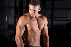 Hombre joven muscular hermoso en gimnasio Imagen de archivo
