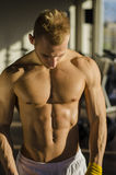 Hombre joven muscular que envuelve el vendaje alrededor de sus manos Imagen de archivo