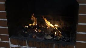 Hombre joven que arregla la leña ardiente en la chimenea fuera de preparar el Bbq del cookout - metrajes