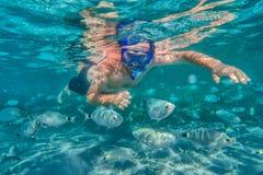 Hombre joven que bucea en arrecife de coral subacuático en la isla tropical Foto de archivo libre de regalías