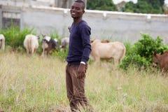 Hombre joven que camina detrás de ganado en el jardín imágenes de archivo libres de regalías