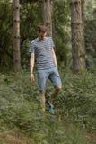 Hombre joven que camina en el bosque que mira abajo Fotos de archivo libres de regalías