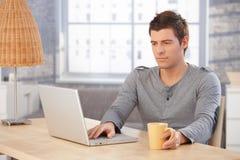 Hombre joven que concentra en la pantalla de la computadora portátil Imágenes de archivo libres de regalías