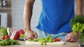 Hombre joven que consigue listo para hacer la ensalada verde fresca en la cocina, el cocinar del marido Fotografía de archivo libre de regalías