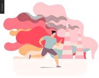 Hombre joven que corre en niebla con humo ilustración del vector