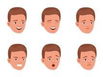 Hombre joven que expresa diversas emociones Estudiante universitario, adolescente Vector el ejemplo plano del diseño de la histor stock de ilustración