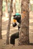 Hombre joven que juega a paintball Foto de archivo