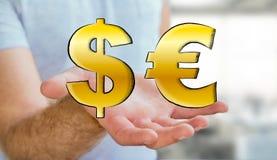 Hombre joven que lleva a cabo iconos dibujados mano del dólar y del euro Imágenes de archivo libres de regalías