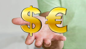 Hombre joven que lleva a cabo iconos dibujados mano del dólar y del euro Fotos de archivo