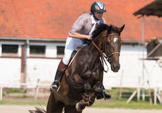 Hombre joven que monta un caballo Fotos de archivo libres de regalías
