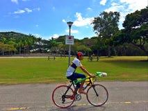 Hombre joven que monta una bicicleta en un parque Fotografía de archivo libre de regalías