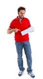 Hombre joven que muestra el giro postal italiano Fotografía de archivo