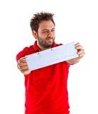 Hombre joven que muestra el giro postal italiano Imagenes de archivo