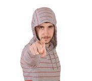 Hombre joven que señala el dedo en usted Imagenes de archivo