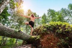 Hombre joven que se coloca en un tronco de árbol en el bosque fotografía de archivo libre de regalías
