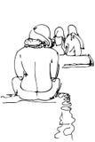 Hombre joven que se sienta en la playa en sus calzoncillos libre illustration