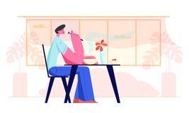 Hombre joven que se sienta en la tabla en restaurante o el caf? que tiene comida Car?cter masculino hambriento que come la comida libre illustration