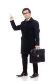 Hombre joven que sostiene la maleta fotos de archivo