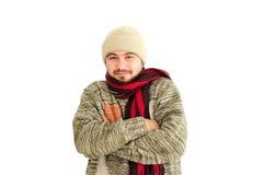 Hombre joven que tiembla Fotografía de archivo