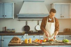 Hombre joven que tiene cocinar la afición fotos de archivo libres de regalías