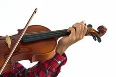 Hombre joven que toca el violín en fondo blanco aislado Fotos de archivo libres de regalías