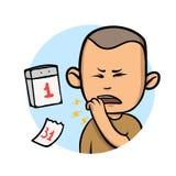 Hombre joven que tose con el puño delante de la boca Enfermedad del tiempo largo Icono del diseño de la historieta Ejemplo plano  stock de ilustración