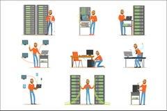Hombre joven que trabaja en sitio de servidor de red Técnico en el sistema del centro de datos de ejemplos coloridos ilustración del vector
