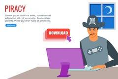 Hombre joven que transfiere el fichero ilegal de Internet stock de ilustración