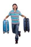 Hombre joven que viaja con las maletas aisladas Imagenes de archivo