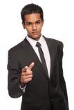 Hombre joven serio que señala su finger Imágenes de archivo libres de regalías