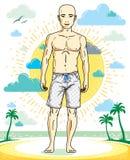 Hombre joven sin pelo hermoso que se coloca en la playa tropical en pantalones cortos brillantes Ejemplo masculino atl?tico del v ilustración del vector