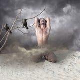 Hombre joven solo, afligido en la desesperación Imagen de archivo