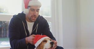 Hombre joven sonriente que pone el casquillo de santa en su perro casero 4K 4k almacen de video