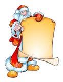 Hombre joven sonriente vestido como ruso Santa Claus con el cartel stock de ilustración