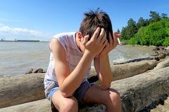 Hombre joven triste al aire libre Fotografía de archivo libre de regalías