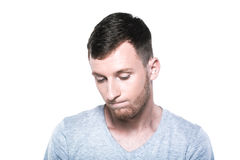 Hombre joven triste e infeliz imágenes de archivo libres de regalías