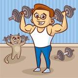 Hombre joven y gato con pesas de gimnasia stock de ilustración