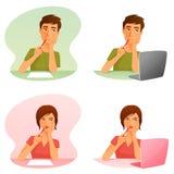 Hombre joven y mujer que piensan, o trabajando con el ordenador stock de ilustración