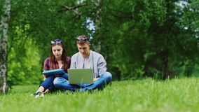 Hombre joven y mujer que trabajan junto en un ordenador portátil y una tableta El sentarse en la hierba en el parque almacen de video