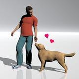 Hombre joven y su perro Imagen de archivo