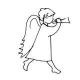 Hombre lindo del ángel pequeño para tocar la trompeta Imágenes de archivo libres de regalías