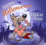 Hombre lobo feliz con un caramelo debajo de la luna stock de ilustración