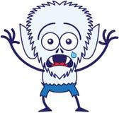 Hombre lobo lindo de Halloween que llora y que siente asustado stock de ilustración