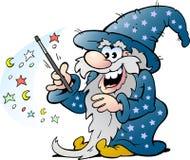 Hombre mágico del viejo mago feliz que sostiene una vara ilustración del vector
