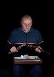 Hombre maduro con el clarinet. Fotos de archivo libres de regalías