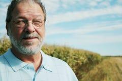 Hombre maduro en campo de maíz Fotos de archivo libres de regalías