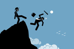 Hombre malvado que golpea con el pie abajo de su socio comercial desde arriba de la colina ilustración del vector