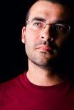 Hombre masculino con los vidrios Fotos de archivo