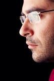 Hombre masculino con los vidrios Imágenes de archivo libres de regalías